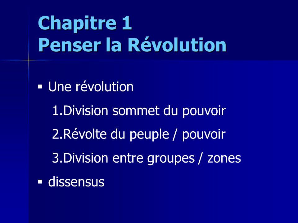 Une révolution 1.Division sommet du pouvoir 2.Révolte du peuple / pouvoir 3.Division entre groupes / zones dissensus Chapitre 1 Penser la Révolution