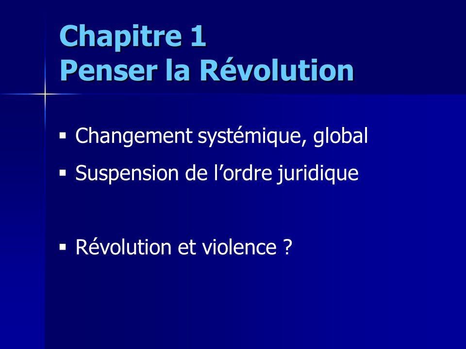Changement systémique, global Suspension de lordre juridique Révolution et violence ? Chapitre 1 Penser la Révolution