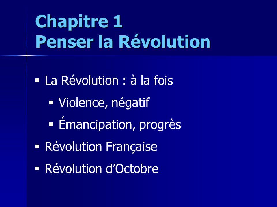La Révolution : à la fois Violence, négatif Émancipation, progrès Révolution Française Révolution dOctobre Chapitre 1 Penser la Révolution