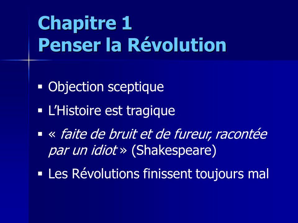 Objection sceptique LHistoire est tragique « faite de bruit et de fureur, racontée par un idiot » (Shakespeare) Les Révolutions finissent toujours mal