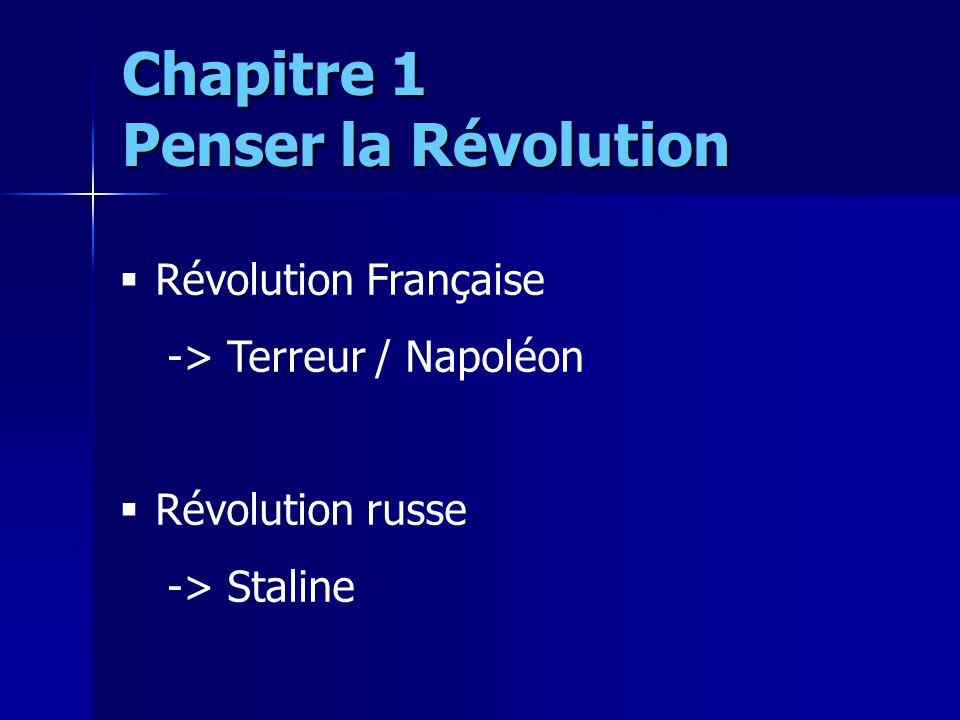 Révolution Française -> Terreur / Napoléon Révolution russe -> Staline Chapitre 1 Penser la Révolution