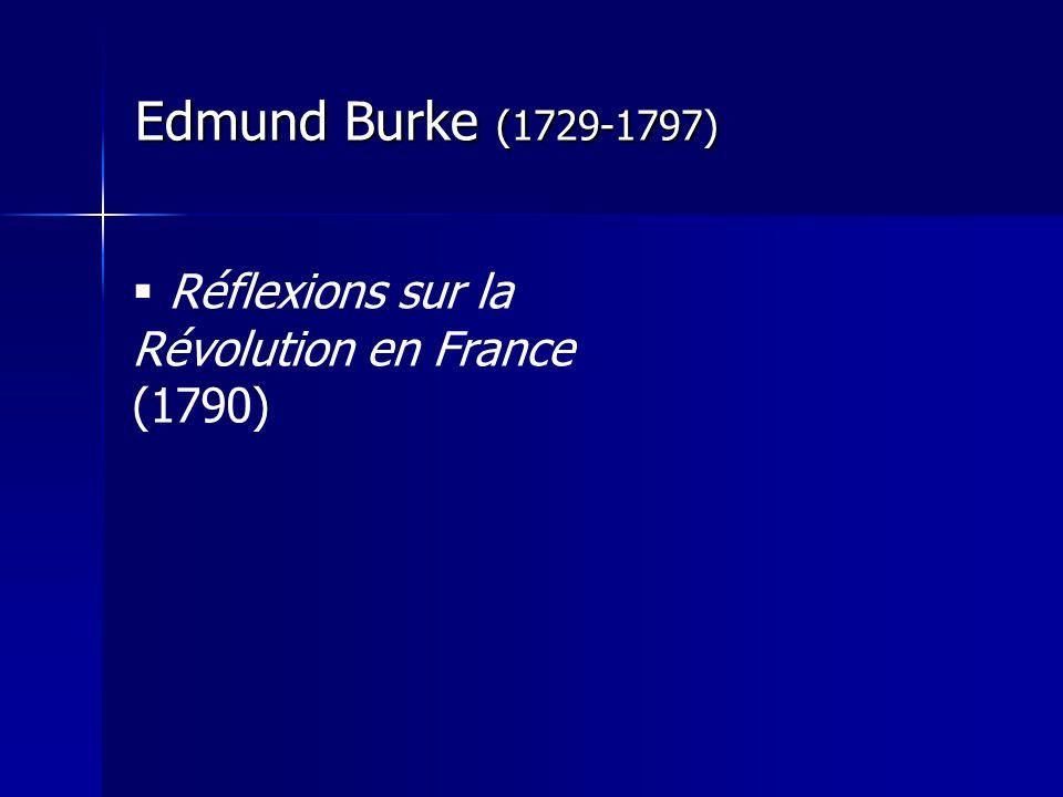 Edmund Burke (1729-1797) Réflexions sur la Révolution en France (1790)