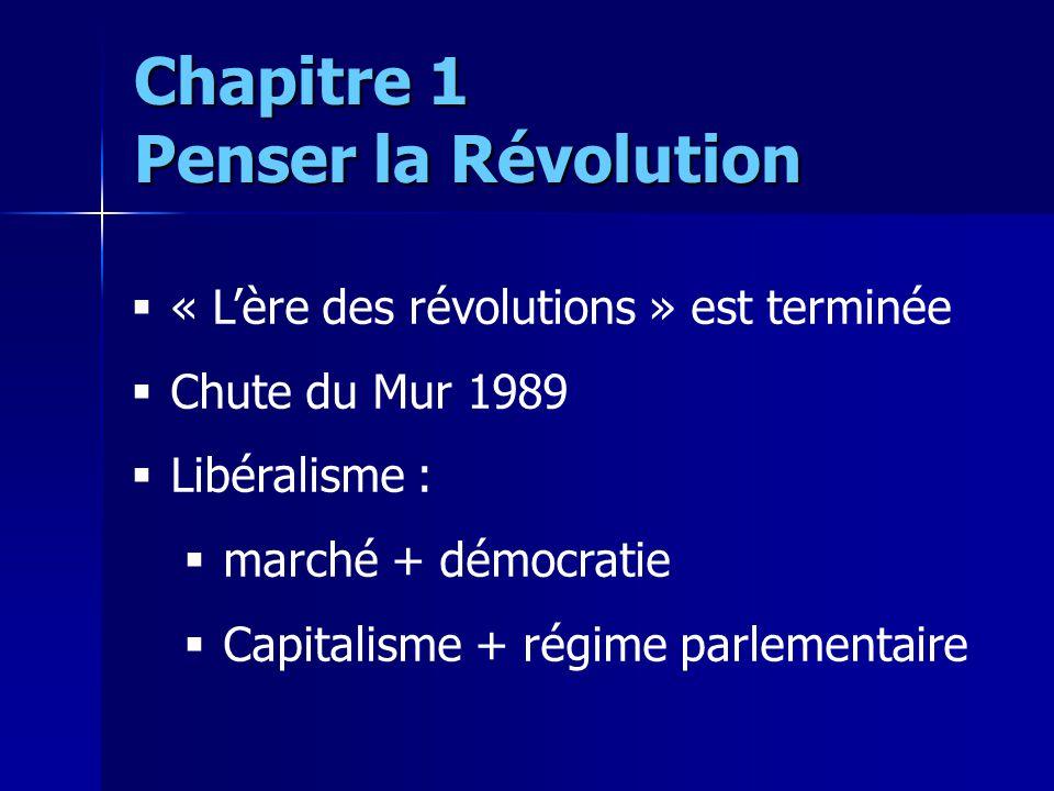 « Lère des révolutions » est terminée Chute du Mur 1989 Libéralisme : marché + démocratie Capitalisme + régime parlementaire Chapitre 1 Penser la Révo