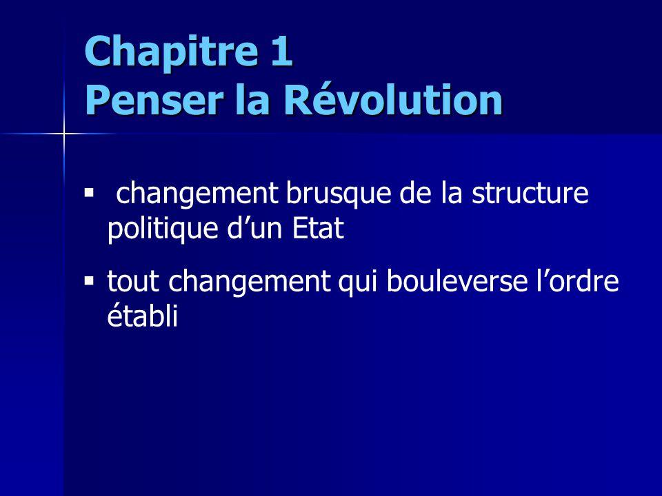 changement brusque de la structure politique dun Etat tout changement qui bouleverse lordre établi Chapitre 1 Penser la Révolution