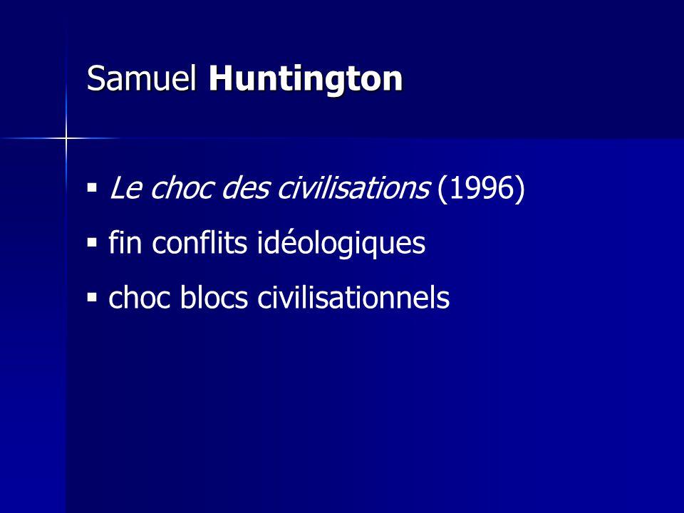 Samuel Huntington Le choc des civilisations (1996) fin conflits idéologiques choc blocs civilisationnels