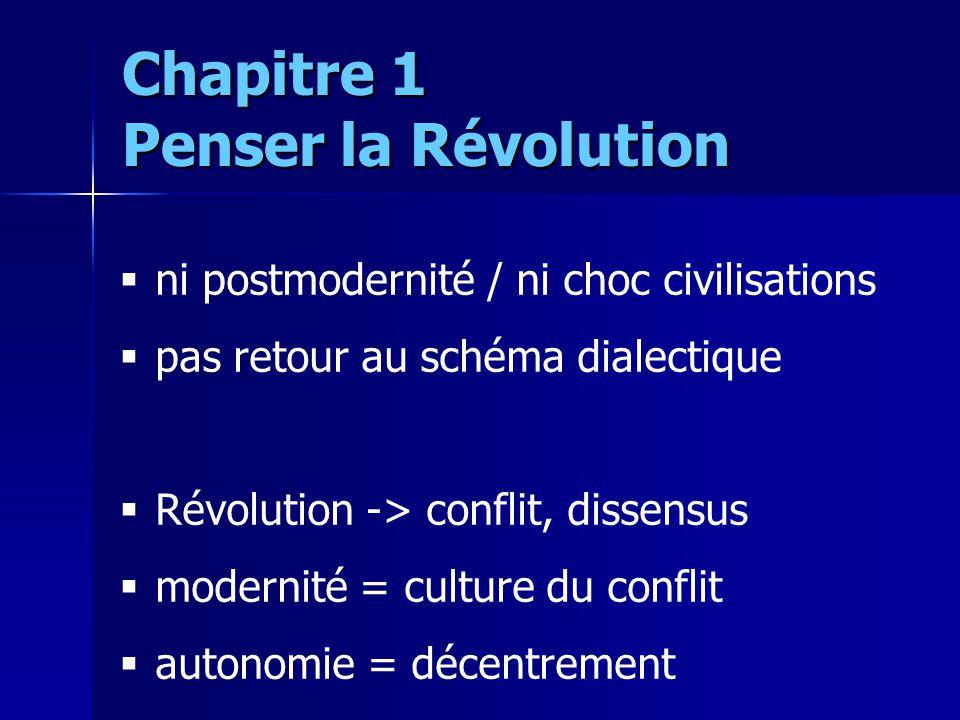ni postmodernité / ni choc civilisations pas retour au schéma dialectique Révolution -> conflit, dissensus modernité = culture du conflit autonomie =