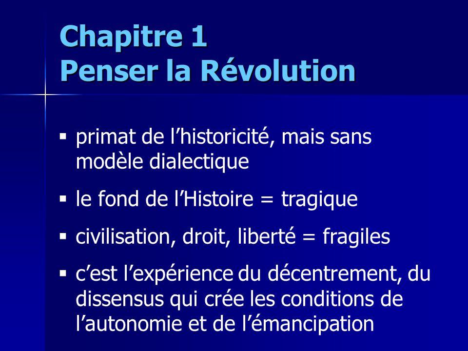 primat de lhistoricité, mais sans modèle dialectique le fond de lHistoire = tragique civilisation, droit, liberté = fragiles cest lexpérience du décen