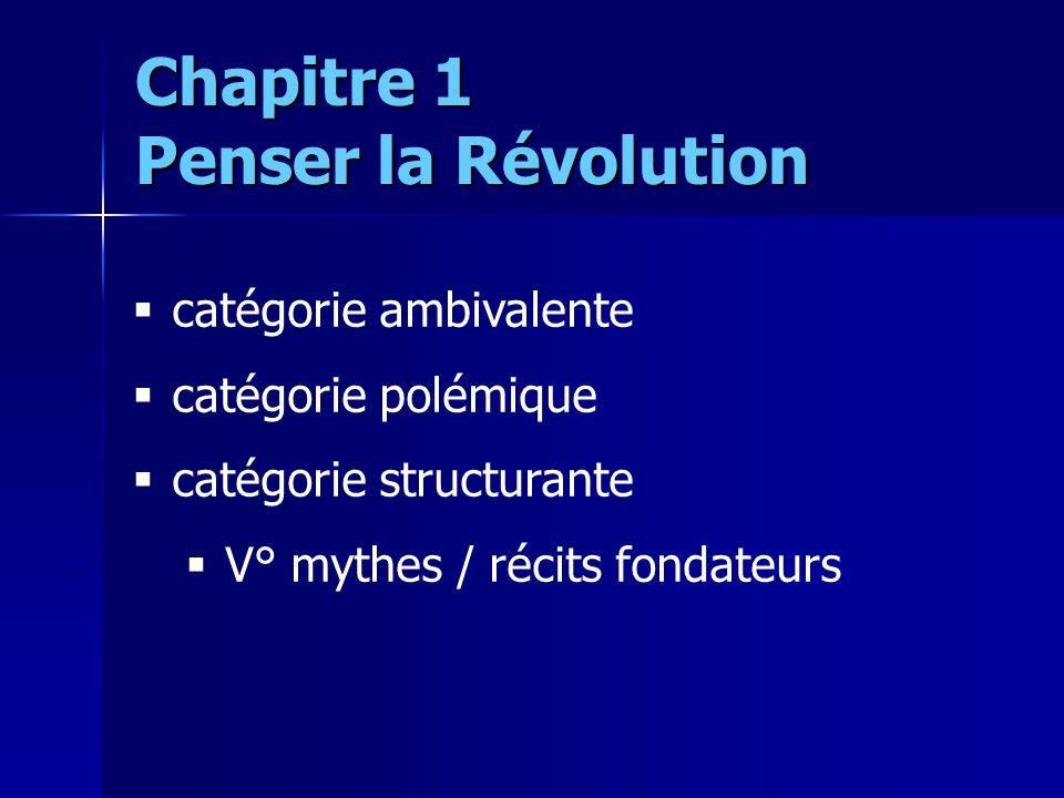 catégorie ambivalente catégorie polémique catégorie structurante V° mythes / récits fondateurs Chapitre 1 Penser la Révolution