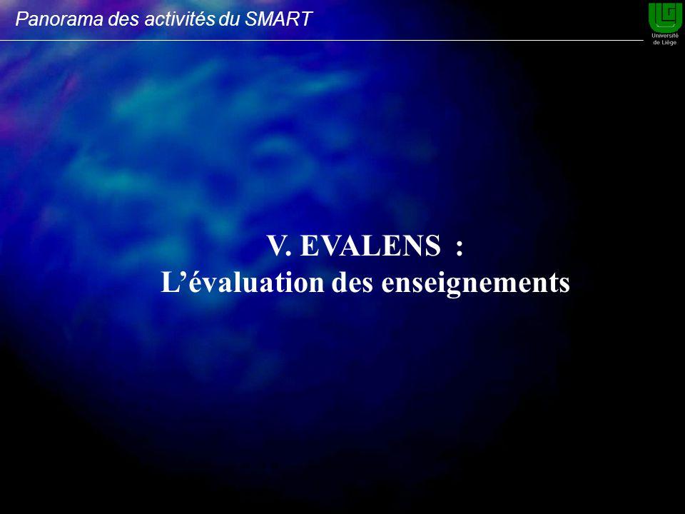 V. EVALENS : Lévaluation des enseignements Panorama des activités du SMART