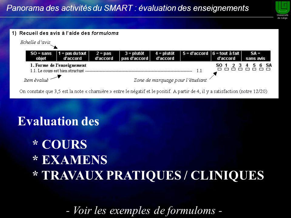 Evaluation des * COURS * EXAMENS * TRAVAUX PRATIQUES / CLINIQUES - Voir les exemples de formuloms - Panorama des activités du SMART : évaluation des enseignements