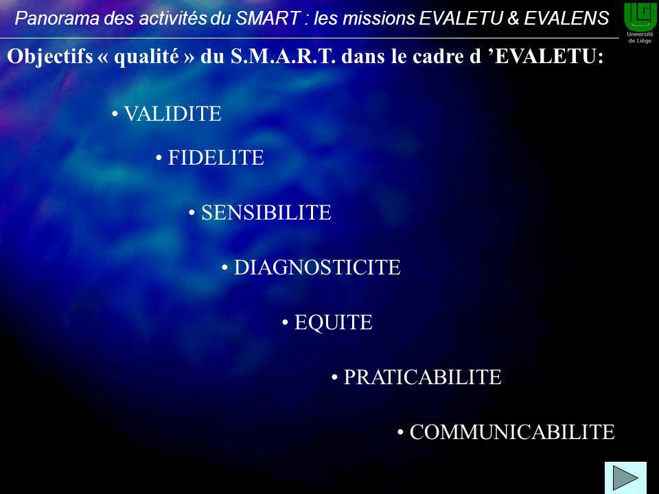 FIDELITE VALIDITE SENSIBILITE DIAGNOSTICITE EQUITE PRATICABILITE COMMUNICABILITE Objectifs « qualité » du S.M.A.R.T.