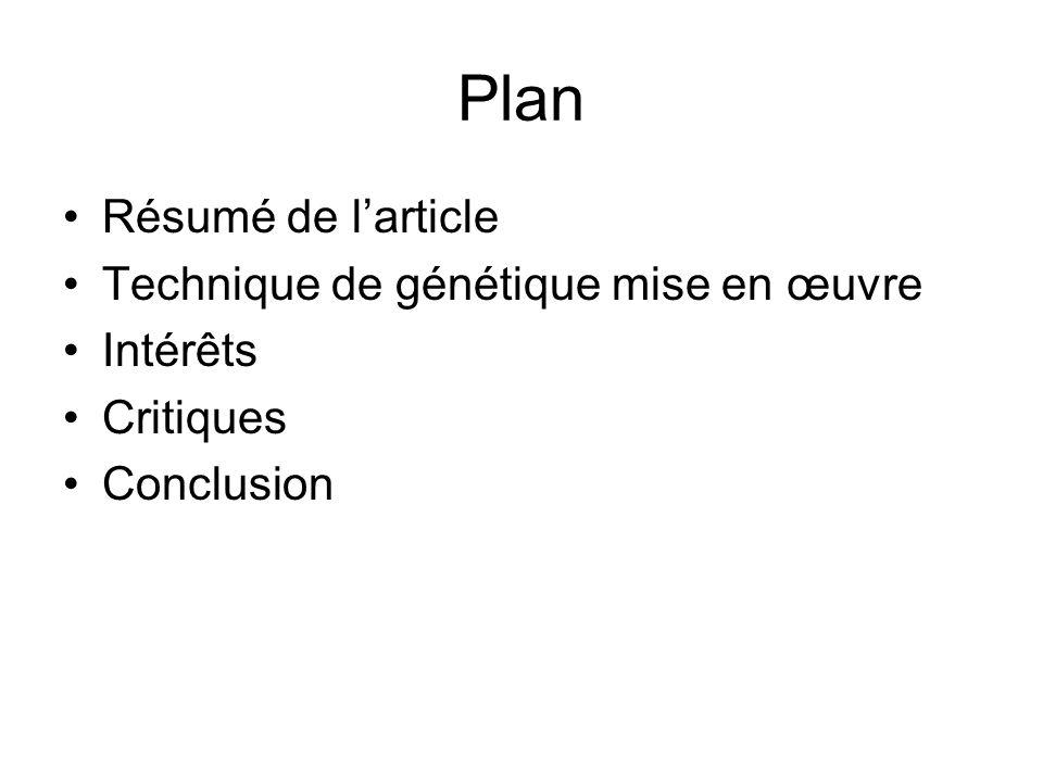 Plan Résumé de larticle Technique de génétique mise en œuvre Intérêts Critiques Conclusion