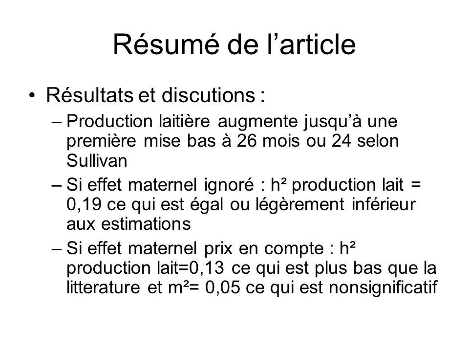 Résumé de larticle Résultats et discutions : –Production laitière augmente jusquà une première mise bas à 26 mois ou 24 selon Sullivan –Si effet mater