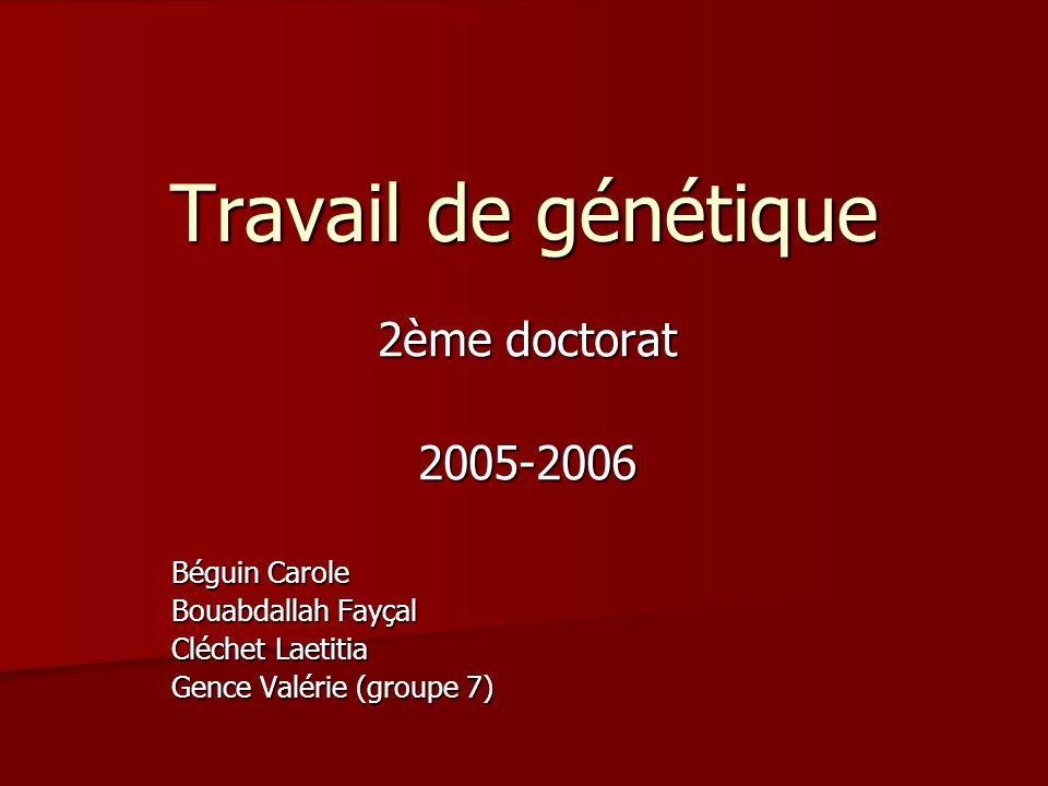 Travail de génétique 2ème doctorat 2005-2006 Béguin Carole Bouabdallah Fayçal Cléchet Laetitia Gence Valérie (groupe 7)