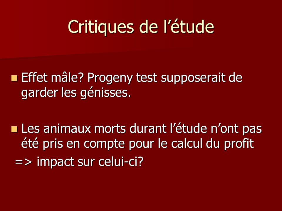 Critiques de létude Effet mâle.Progeny test supposerait de garder les génisses.