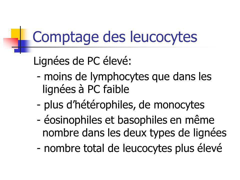 Comptage des leucocytes Lignées de PC élevé: - moins de lymphocytes que dans les lignées à PC faible - plus dhétérophiles, de monocytes - éosinophiles