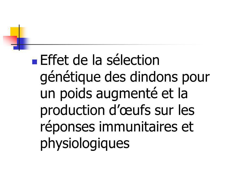 Comptage des leucocytes Lignées de PC élevé: - moins de lymphocytes que dans les lignées à PC faible - plus dhétérophiles, de monocytes - éosinophiles et basophiles en même nombre dans les deux types de lignées - nombre total de leucocytes plus élevé
