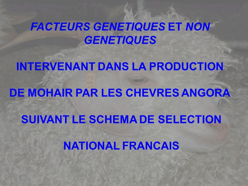 FACTEURS GENETIQUES ET NON GENETIQUES INTERVENANT DANS LA PRODUCTION DE MOHAIR PAR LES CHEVRES ANGORA SUIVANT LE SCHEMA DE SELECTION NATIONAL FRANCAIS