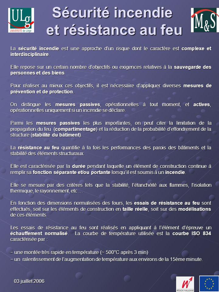 03 juillet 2006 Historique Les premières activités dans le domaine de lincendie à lUniversité de Liège ont débuté au milieu des années 70 par lélaboration de modèles théoriques et numériques pour lévaluation de la résistance au feu des structures.