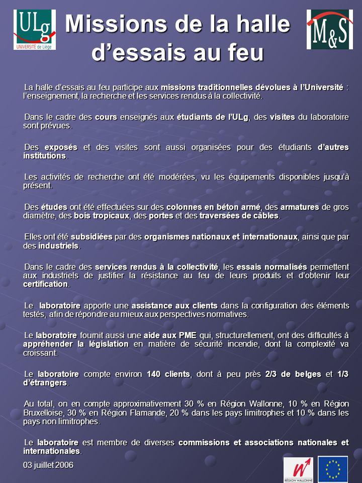 03 juillet 2006 Missions de la halle dessais au feu La halle dessais au feu participe aux missions traditionnelles dévolues à lUniversité : lenseignement, la recherche et les services rendus à la collectivité.