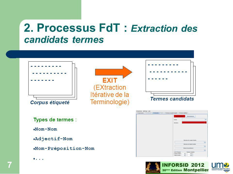 Cours ECD - M2 - 2008/2009 7 - - - - - - - - - - - - - - - - - - - - - - - - - - Corpus étiqueté Termes candidats - - - - - - - - - - - - - - - - - -