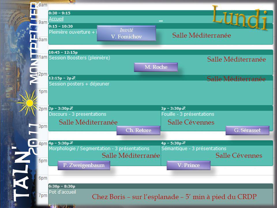 Salle Méditerranée Chez Boris – sur lesplanade – 5 min à pied du CRDP Salle Méditerranée Salle Cévennes Salle Méditerranée P.