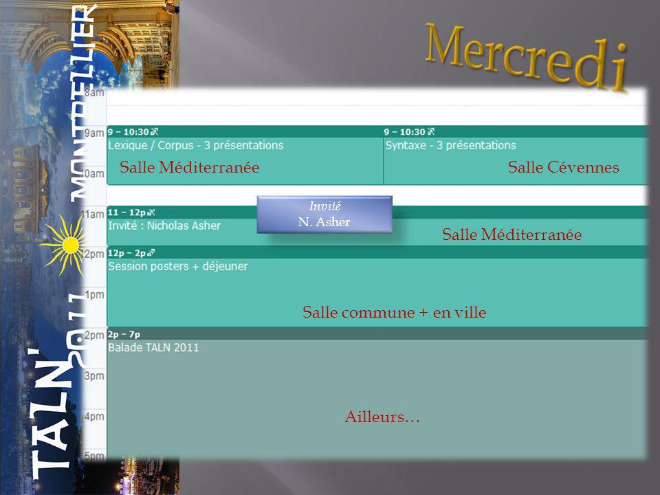 Salle Méditerranée Salle Cévennes Ailleurs… Salle commune + en ville Invité N. Asher