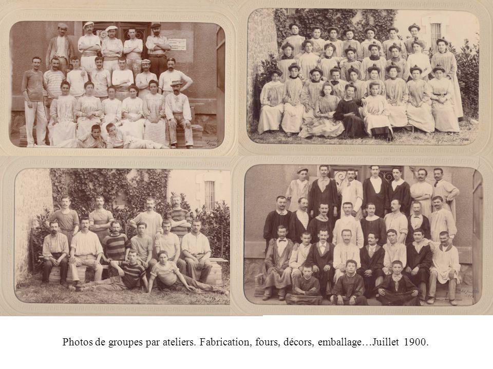 Photos de groupes par ateliers. Fabrication, fours, décors, emballage…Juillet 1900.