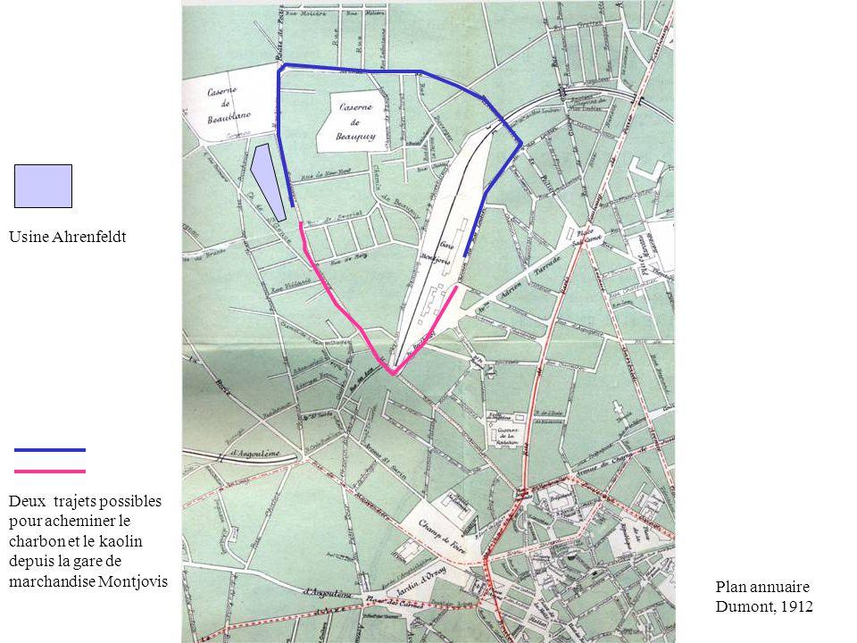 Plan annuaire Dumont, 1912 Deux trajets possibles pour acheminer le charbon et le kaolin depuis la gare de marchandise Montjovis Usine Ahrenfeldt