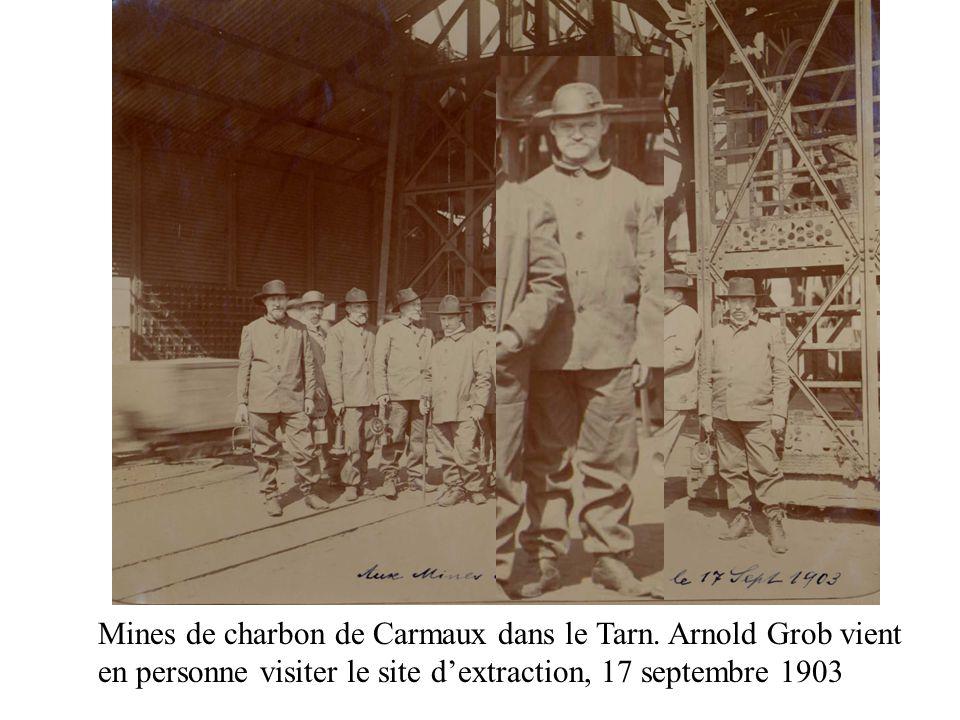 Mines de charbon de Carmaux dans le Tarn. Arnold Grob vient en personne visiter le site dextraction, 17 septembre 1903