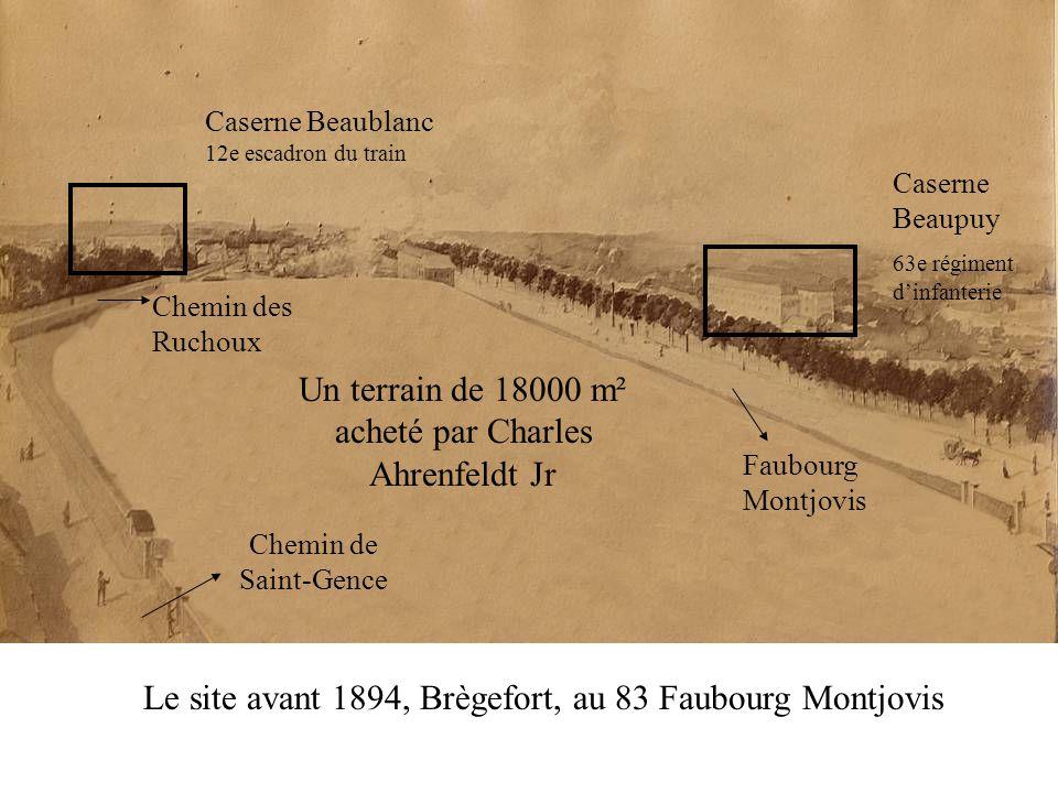 Le site avant 1894, Brègefort, au 83 Faubourg Montjovis Un terrain de 18000 m² acheté par Charles Ahrenfeldt Jr Faubourg Montjovis Chemin de Saint-Gen