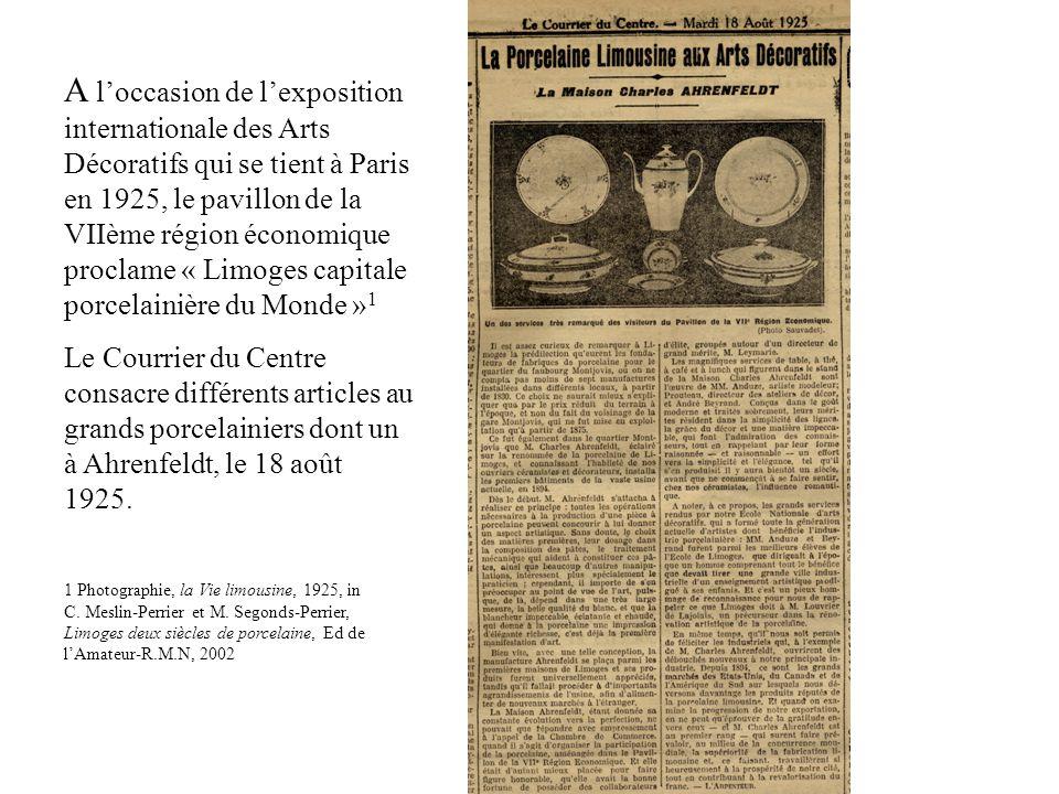 A loccasion de lexposition internationale des Arts Décoratifs qui se tient à Paris en 1925, le pavillon de la VIIème région économique proclame « Limo