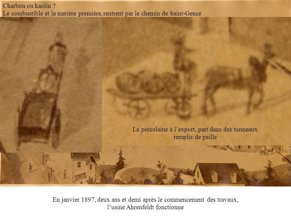 En janvier 1897, deux ans et demi après le commencement des travaux, lusine Ahrenfeldt fonctionne La porcelaine à lexport, part dans des tonneaux remp