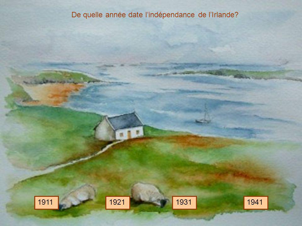 De quelle année date lindépendance de lIrlande? 1911192119311941