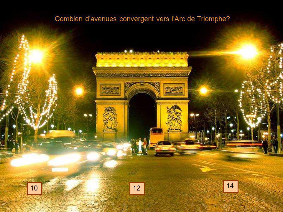 Combien davenues convergent vers lArc de Triomphe? 1012 14