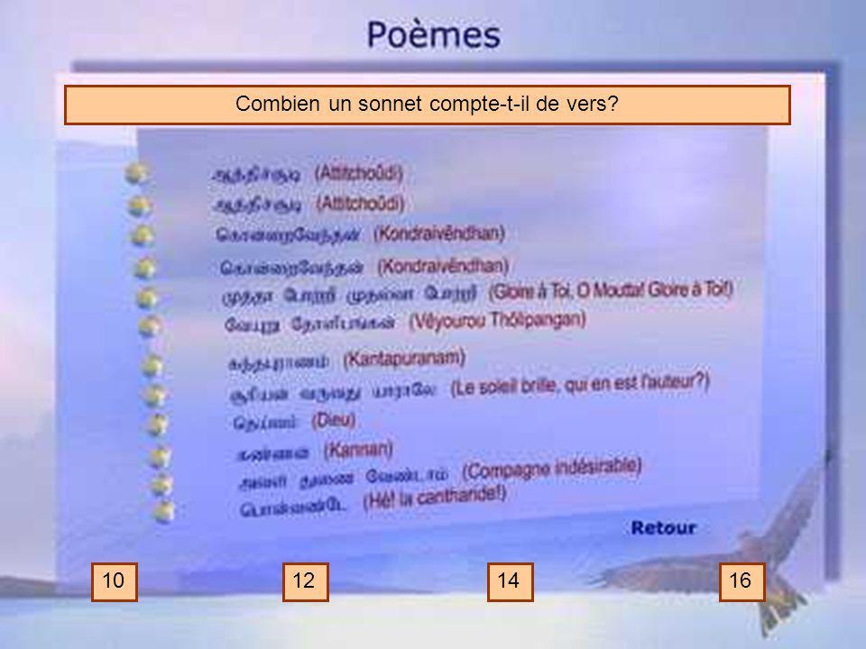 Combien un sonnet compte-t-il de vers? 10121416