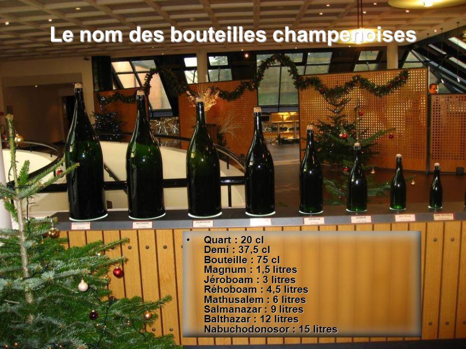 Le nom des bouteilles champenoises Quart : 20 cl Demi : 37,5 cl Bouteille : 75 cl Magnum : 1,5 litres Jéroboam : 3 litres Réhoboam : 4,5 litres Mathus
