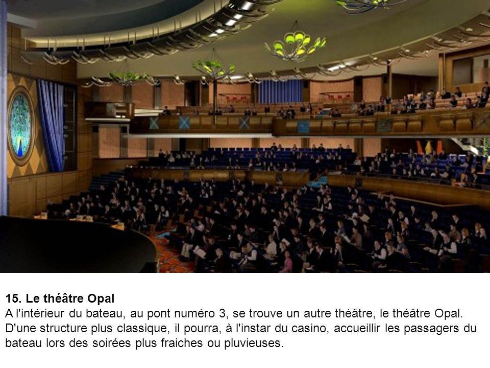 14. Un amphithéâtre en plein air L'amphithéâtre, imitation d'un théâtre de la Grèce antique, est en réalité un théâtre d'eau, où 750 spectateurs pourr