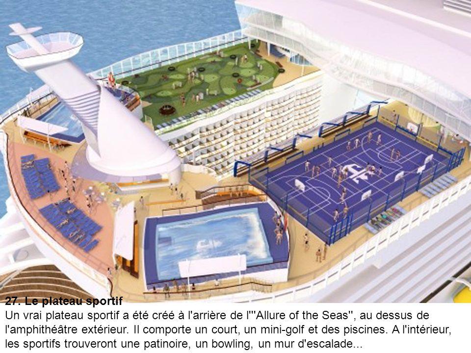 26. Le solarium Le bateau propose de nombreuses piscines sur les toits, et un solarium réservé aux adultes.