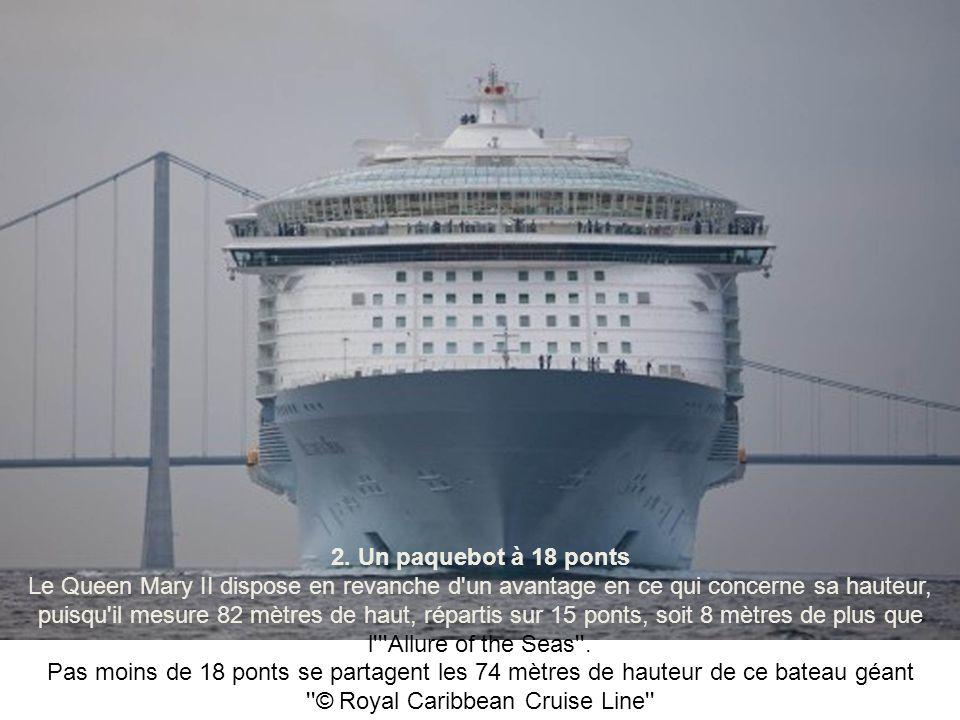 1. Le plus grand bateau de croisière Avec une longueur totale de 361 mètres, l'''Allure of the Seas'' est le plus grand paquebot de croisière du monde