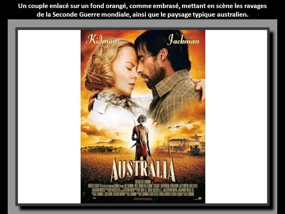 Un couple enlacé sur un fond orangé, comme embrasé, mettant en scène les ravages de la Seconde Guerre mondiale, ainsi que le paysage typique australien.