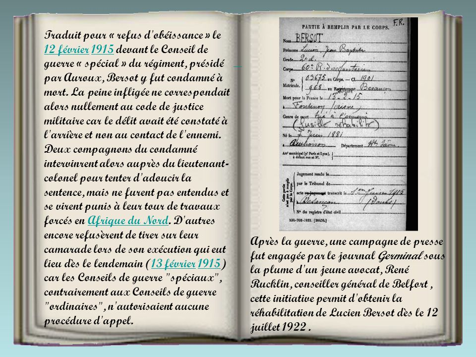 Les corps d HERDUIN et de MILLANT sont enterrés à la lisière Est du Bois de Fleury.