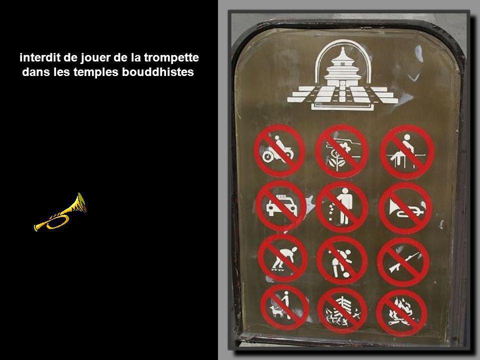 interdit de jouer de la trompette dans les temples bouddhistes