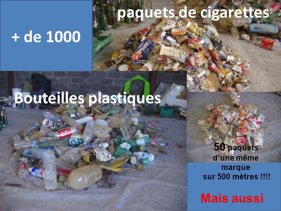 Bouteilles en plastiques vides + de 1000 paquets de cigarettes 50 paquets dune même marque sur 500 mètres !!!.
