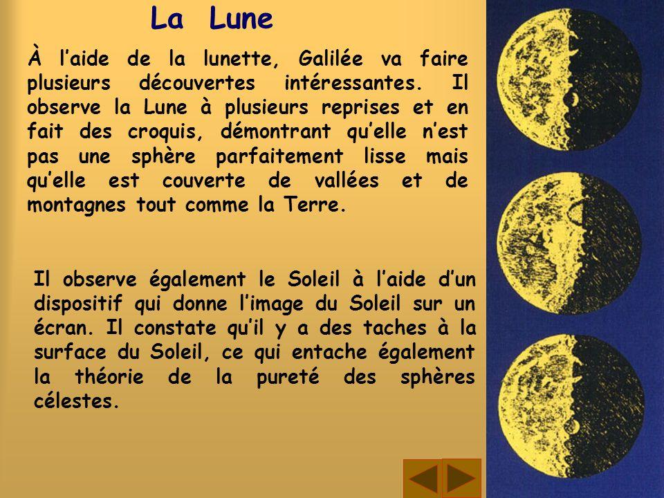 La Lune À laide de la lunette, Galilée va faire plusieurs découvertes intéressantes. Il observe la Lune à plusieurs reprises et en fait des croquis, d
