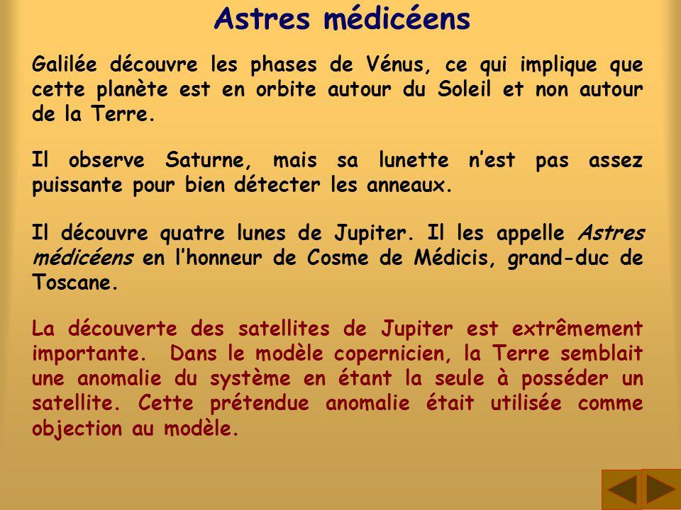 Astres médicéens Il découvre quatre lunes de Jupiter. Il les appelle Astres médicéens en lhonneur de Cosme de Médicis, grand-duc de Toscane. Galilée d