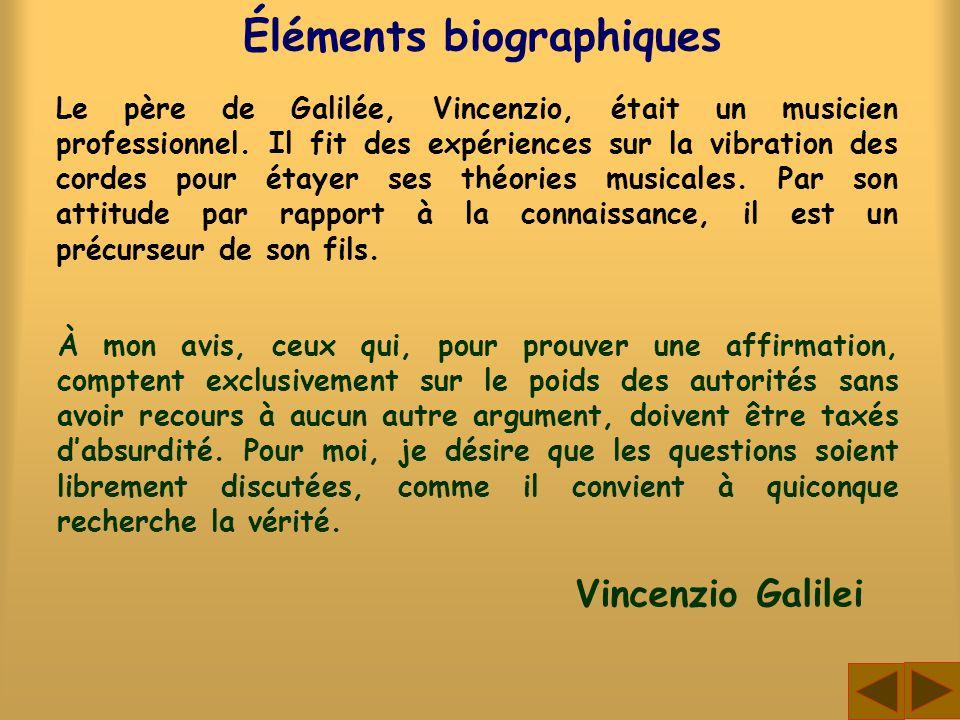 Éléments biographiques Le père de Galilée, Vincenzio, était un musicien professionnel. Il fit des expériences sur la vibration des cordes pour étayer