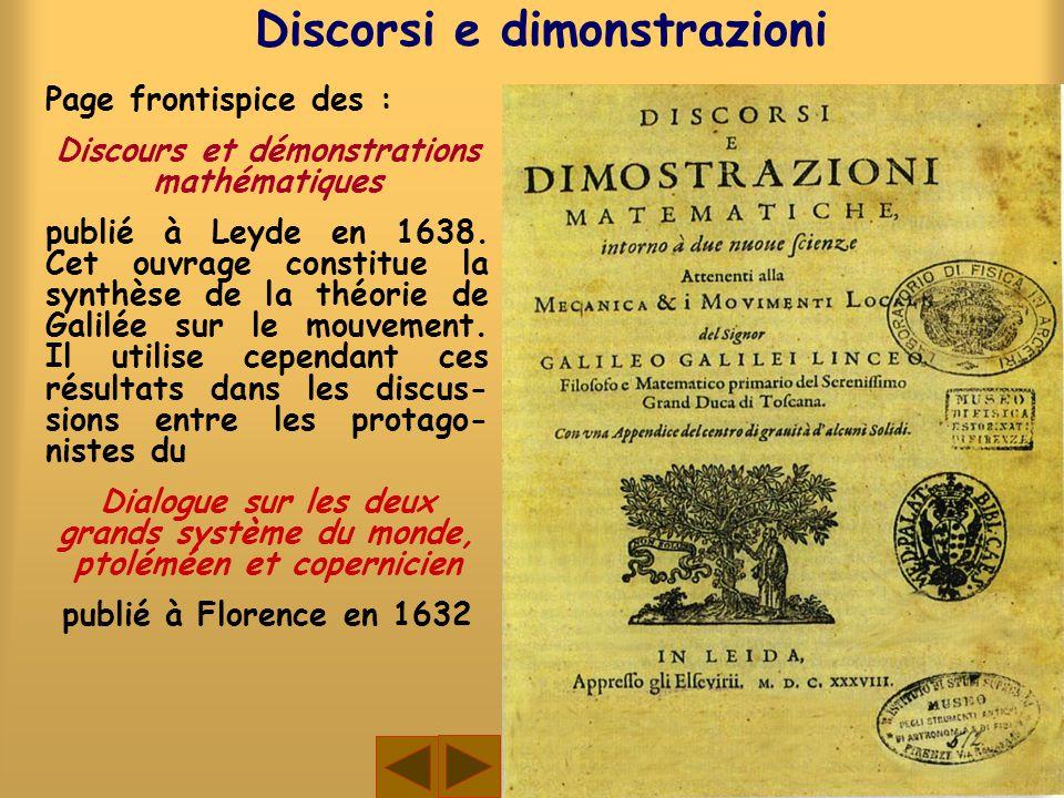 Page frontispice des : Discours et démonstrations mathématiques publié à Leyde en 1638. Cet ouvrage constitue la synthèse de la théorie de Galilée sur
