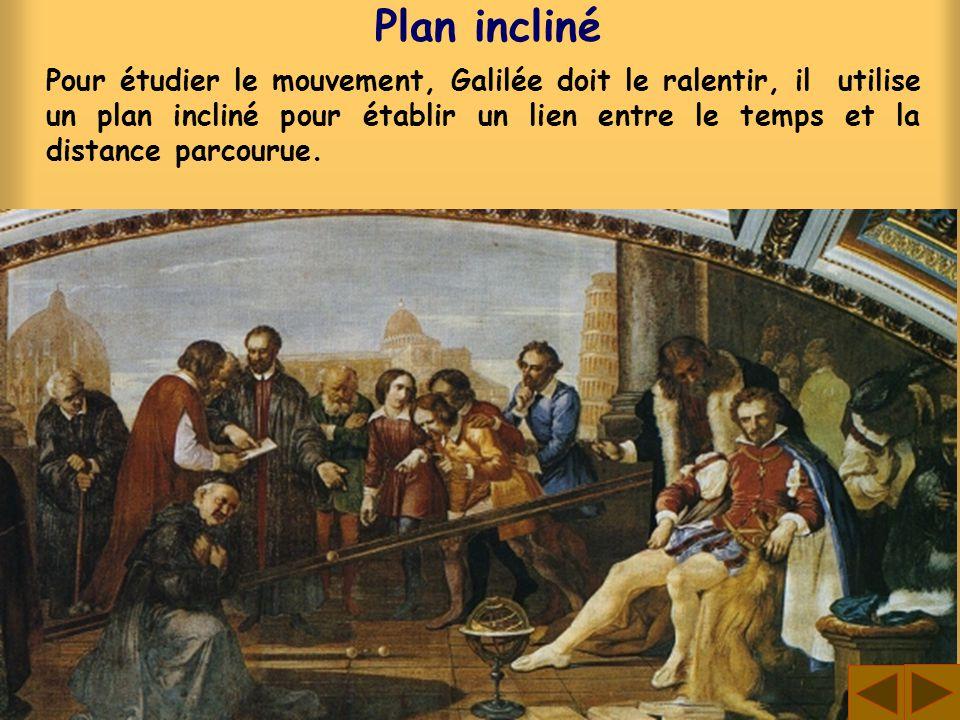 Plan incliné Pour étudier le mouvement, Galilée doit le ralentir, il utilise un plan incliné pour établir un lien entre le temps et la distance parcou