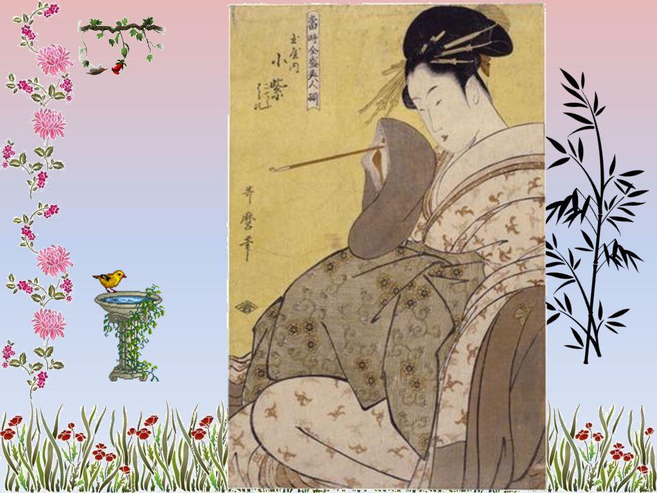 Geisha montée sur ses socques de bois déambule nuitamment à proximité du Yoshiwara